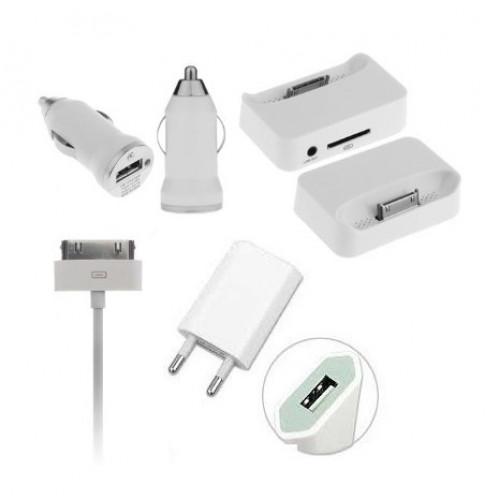 Набор зарядных устройств для IPhone 4/4S 4 in 1 Travel Kit