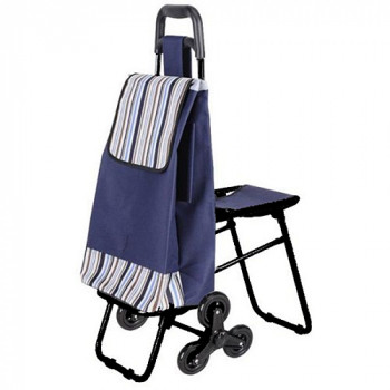 Сумка-тележка с откидным сиденьем и тройными колесами