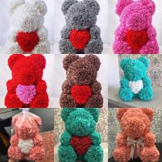 Мишки из роз с сердцем (цвета разные)