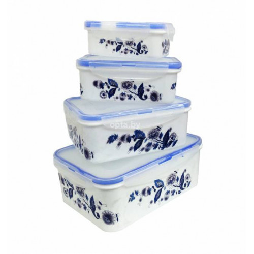 Набор пищевых прямоуг. пластиковых контейнеров с крышками