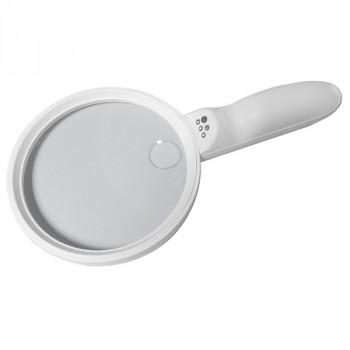 Лупа ручная круглая 1.5x/5х-138мм с подсветкой 3 LED (MG6B-9)