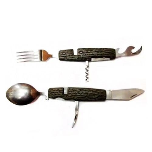 Многофункциональный нож с коричневой вырезной ручкой