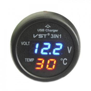 Цифровой автотермометр с вольтметром VST-706