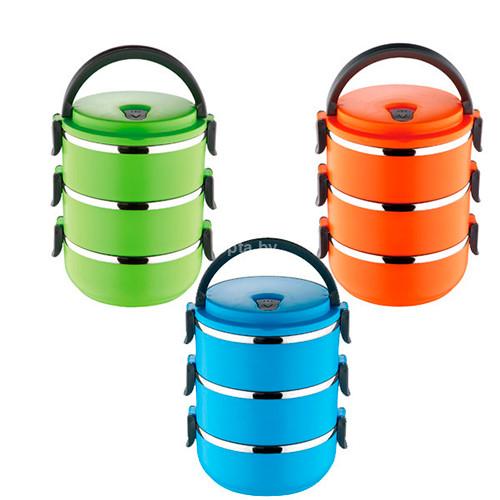 Термо контейнер для обедов Lunch Box тройной (2,1 л)